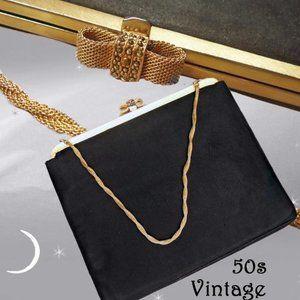 Vintage Black Evening Bag with Marcasites & Mirror